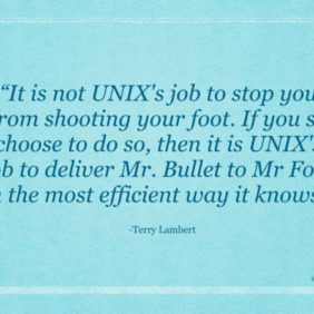 It is not UNIX's job to stop you from shooting your foot. If you so choose to do so, then it is UNIX's job to deliver Mr. Bullet to Mr Foot in the most efficient way it knows.